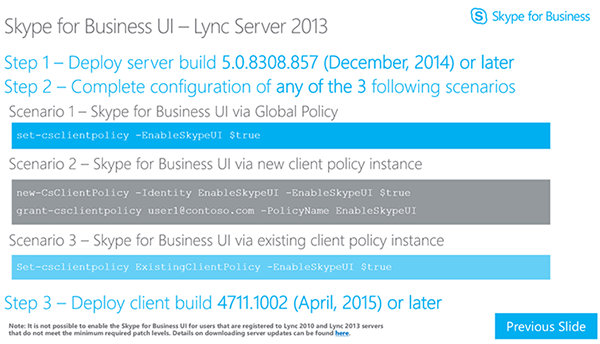Skype for Business UI – Lync Server 2013
